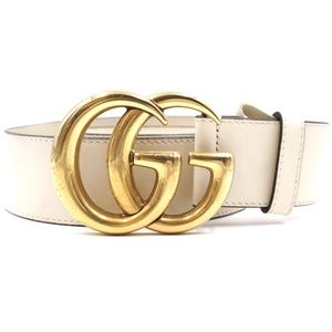 Cream Marmont Gold Buckle Leather Size 70 28 Belt